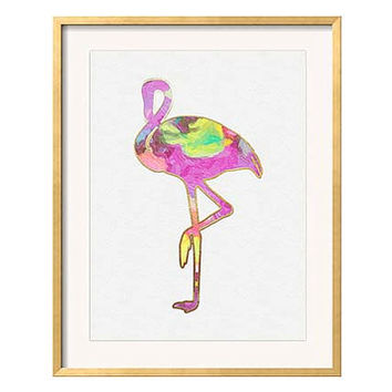 "Pink Flamingo Print, ""B"" Palm Beach Chic Wall Art, Flamingo Illustration, Pink Purple Wall Art, Flamingo Wall Art, Chinoiserie Chic"