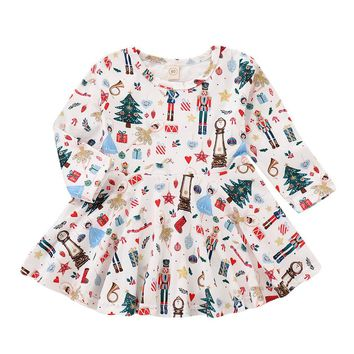 Dress Elegant Toddler Baby Girl Tree Long Sleeve Cartoon Print Dress Christmas Princess Vestido Infantil#S3