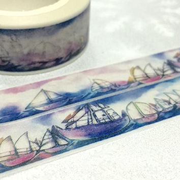 Ancient boat Washi tape 10M sailing boat landscape masking tape Watercolor sky boat party invitation sticker tape sea world label decor