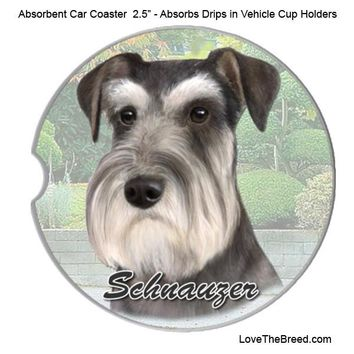 Schnauzer Absorbent Car Coaster