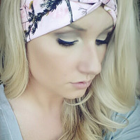 PINK Realtree Camo headband, stretch cotton twist headband camouflage