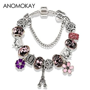 2018 Antique Silver Color Eiffel Tower Pan Charm Bracelet Crystal Flower Bead Bracelets & Bangles for Women Jewelry Gift