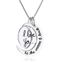 Free UPS 1pcs 2015 Fashion Two Piece I Love You To The Moon and Back Silver Pendant Necklace Women Girls Chain 2MM 18inch