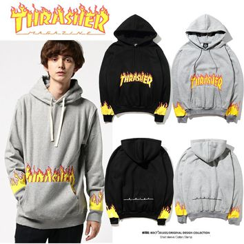 Thrasher Fire Parka Old Hoodie Sweater M---XXL