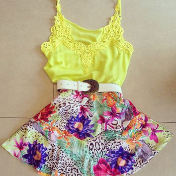 Yellow Spaghetti Strap Floral Print Dress