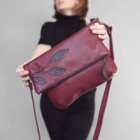Burgundy leather crossbody bag. Foldover cross body bag. Burgundy leather purse.