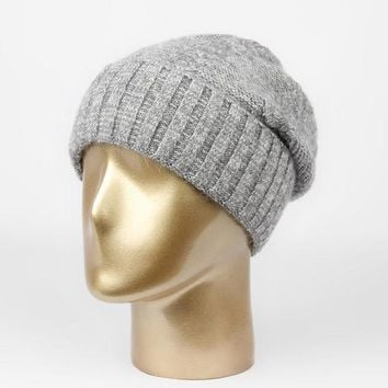 New Wool Cashmere Hat Female Mix Color Women High Vogue Brand Quality Warm  Knitted Casual Winter Hats Skullies Beanies