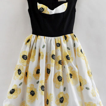 Black and White Sleeveless High Waist Skater Dress with Yellow Floral Print Details