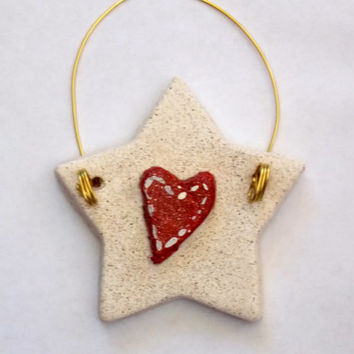 SET of 6 Christmas Ornament Handmade White Star Red Heart Primitive Country Salt Dough Hand Painted