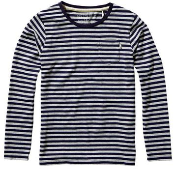 ONETOW Scotch & Soda Boys Grey Long-Sleeved Striped T-shirt