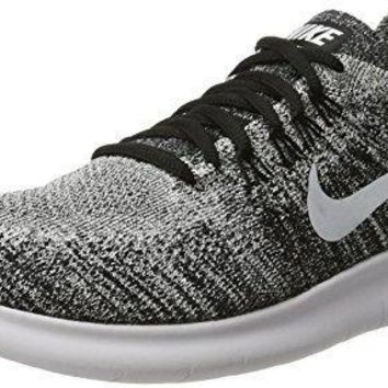 NIKE Womens Free RN Flyknit 2017 Running Shoes Black/Volt/White 880844-003 Size 7.5