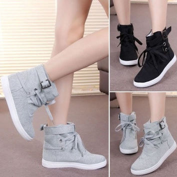 Fashion Women's High-top Buckle Shoes Casual Ankle Boots Sport Sneakers [7641526598]