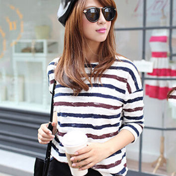 Printed  Long Sleeve Striped T-shirt