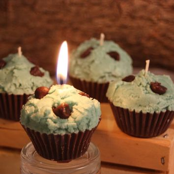 Cupcake Candles, Mini Mint-Chocolate Chip Cupcake Candle, Fake Food