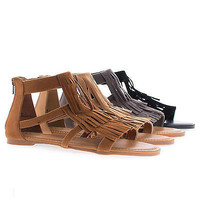 Dino71S Open Toe Moccasin Fringe Pleaded Flat Sandals