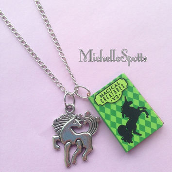 Harry Potter inspired Necklace Unicorn Necklace Chain Book Necklace Unicorns Pendants Books Charms Magical Creatures