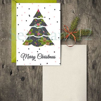 Merry Christmas Card Tree & Christmas Wall Art Deer , Merry Christmas Tree Printable , Holidays Decor , Print, Holidays Digital card 5 Sizes