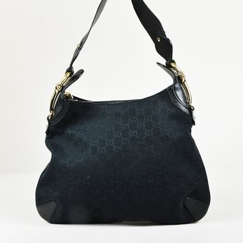"Gucci Black ""Original GG"" Canvas & Leather Trim ""Creole Hobo"" Bag"