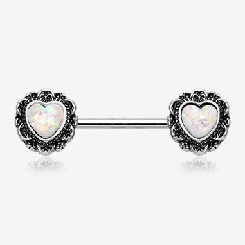 A Pair of Opalescent Floral Heart Filigree Nipple Barbell Ring
