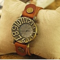Women wrist watch Orange Real Leather wrist watch Handmade watch Vintage Style Watch Women's Watch, Men Wrist Watch  PB0147