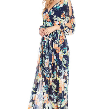 Hibiscus Surplice Maxi Dress