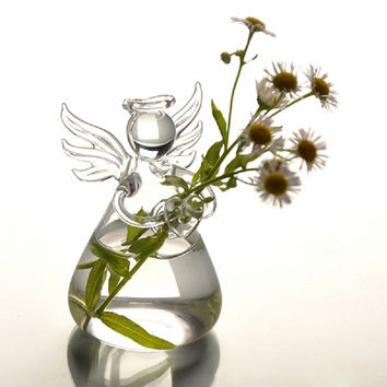 Hot New Cute Clear Glass Angel Shape Flower Plant Stand Hanging Vase Hydroponic Home Office Wedding Decor