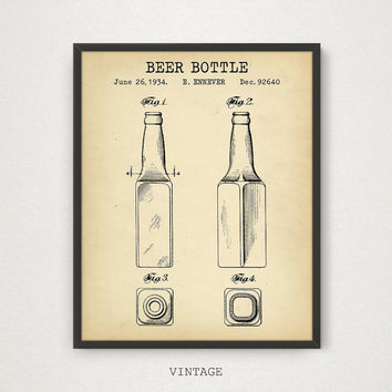 Beer Bottle Patent Wall Art, Digital Download, Vintage Blueprint Art, Liquor Bottle, Whiskey Bottle, Bar Decor, Kitchen Wall Art, Beer Gifts