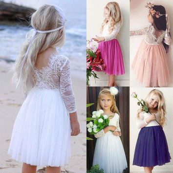 US Flower Girl Dress Princess Kids Baby Lace Tulle Party Bridesmaid Dresses 1-6Y
