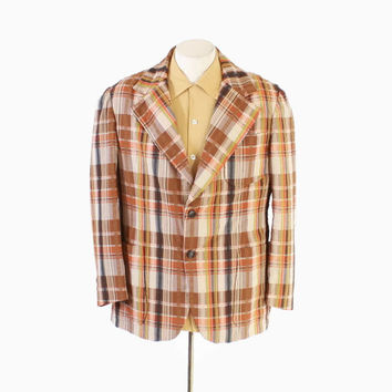 Vintage 60s BLAZER / 1960s Men's MADRAS Plaid Cotton Sport Coat Jacket M 40