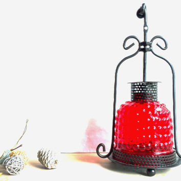 Vintage Red lantern,Handmade Moroccan hanging Lantern,Vintage candle lantern, Еxotic metal candle holder.Home Deco