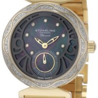 Stuhrling Original Women's 504B.123327 Vogue Soiree Elite Diamond Black Mother-Of-Pearl Dial Watch