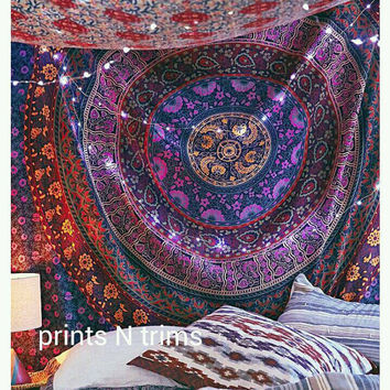 Bohemian Tapestry Wall Hanging large indian mandala tapestry hippie from printsntrims on etsy