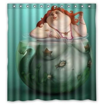 "AZR Vintage Mermaid Custom Shower Curtain 66 ""x72"" Waterproof Fabric Shower Curtain for Bathroom"