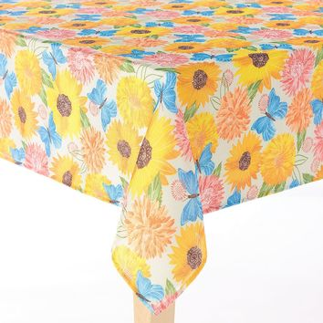 Harvest Floral Butterfly Tablecloth - 60'' x 84'' Oval
