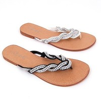 Jones Woven Sparkle Strap Dressy Flip Flops, Thong Sandals, Great Summer Flats. Shoes available in 8 Colors