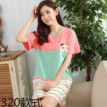 Chinese market online nightshirts for women Cartoon nightdress Skirt Strapless Short-Sleeved Cotton Nightdress Pyjamas  Clothes