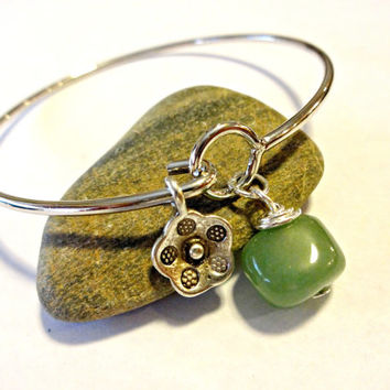 Stacking Bangle Bracelet, Infinity Bracelet, Silver Bangle with Gemstone, Bangle Bracelet with Charms, Cool Jewelry