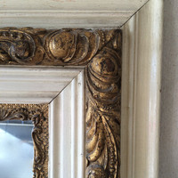 Shabby Chic Vintage Wood Frame with Mirror, Hollywood Regency Ornate Mirror, Antique Mirror, 1960s
