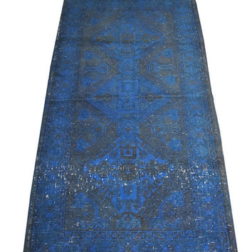 ON SALE Dark Blue Color Overdyed Handmade Rug  5'3'' x 2'9'' feet