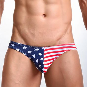 Men's Underwear Cotton American National Flag U Convex Design Sexy Men's Briefs Low-waisted