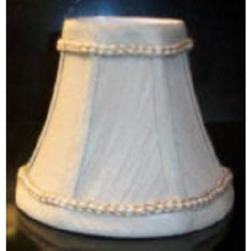 """68863 - Beige Linen With Trim Candelabra Clip On Lamp Shade - 3"""" Top X 6"""" Bottom X 5"""" Height"""