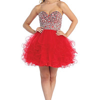 Short Beaded Ruffle Tulle Prom Dress in Red