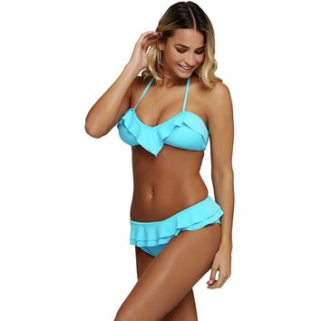 Blue Chic Ruffle Detail 2pcs Halter Bikini Swimsuit