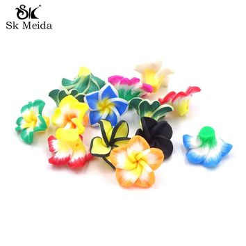 50Pcs Mixed Polymer Fimo Clay Flower Beads With Back Holes 20*10mm Material For Handmade Accessories Diy Craft 5 Leaf Flores