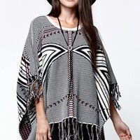 LA Hearts Pullover Fringe Poncho - Womens Sweater - Multi - One