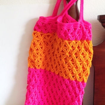 Hot Pink And Orange Crochet Pool Bag Farmers Market Tote Large Beach or Grocery Bag Reusable