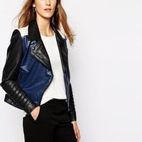 Y.A.S Aviator Leather Biker Jacket in Color Block