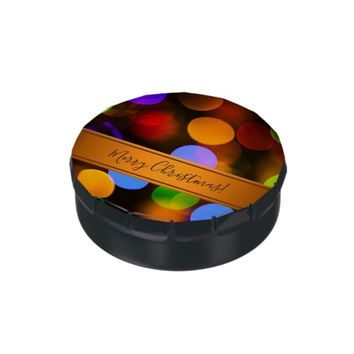 Multicolored Christmas lights. Add text or name. Jelly Belly Candy Tins