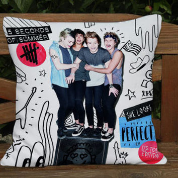 5 SOS 5 seconds of summer pillow cover case one side - two side