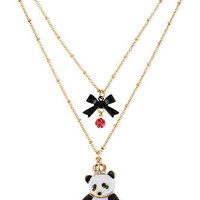 Betsey Johnson Necklace, Antique Gold-Tone Glass Crystal Two-Row Panda Necklace - All Fashion Jewelry - Jewelry & Watches - Macy's